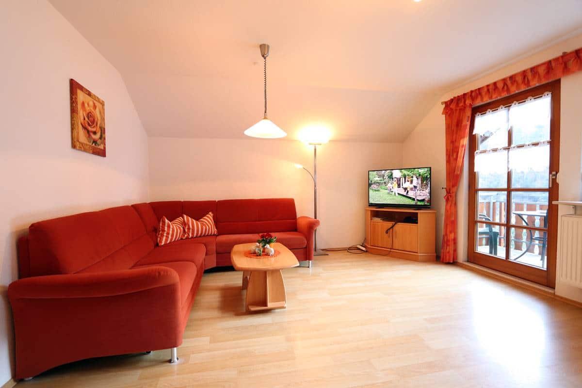 Wohnzimmer Ferienwohnung Halterhof